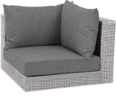 Corpus corner element Fontana wicker Vintage white with cushion Dessin silk grey