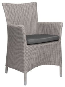 Armchair Sortino with wicker Vintage white und cushion silk grey