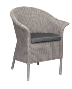 Armchair Glen with wicker Vintage white und cushion silk grey