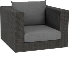Corpus armchair Fontana wicker basalt grey with cushion Dessin silk grey