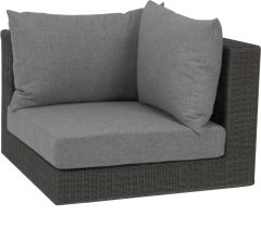 Corpus corner element Fontana wicker basalt grey with cushion Dessin silk grey