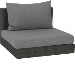 Corpus middle element Fontana wicker basalt grey with cushion Dessin silk grey