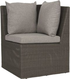 Corner element Noel wicker basalt grey with cushion Dessin silk grey