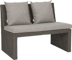 Bench Noel 2-seater wicker basalt grey with cushion Dessin silk grey