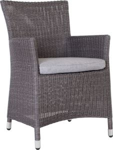 Armchair Sortino wicker basalt grey with cushion Dessin silk grey