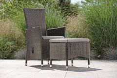 Armchair Sortino adjustable wicker basalt grey with cushion Dessin silk grey