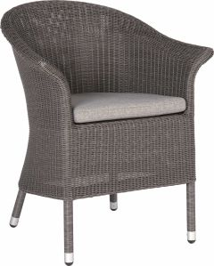 Armchair Glen wicker basalt grey with cushion Dessin silk grey