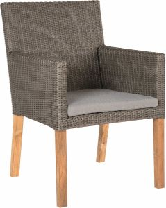 Armchair Pep wicker basalt grey teak legs FSC® certified & cushion Dessin silk grey