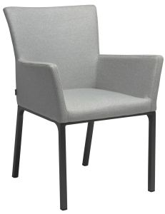 Dining armchair Artus aluminum anthracite with cover outdoor fabric Dessin crystal silver