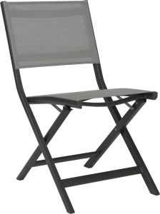 Balcony folding chair Nils aluminum anthracite with cover textilen silver