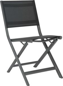 Balcony folding chair Nils aluminum graphite with cover textilen silver grey