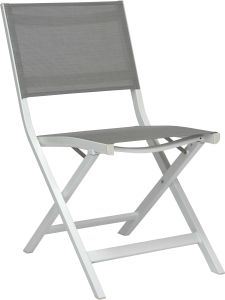 Balcony folding chair Nils aluminum white with cover textilen silver