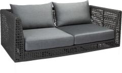 Corpus Sofa 2-seater Corda rope platinum with cushion Dessin silk grey