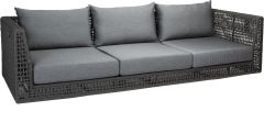 Corpus Sofa 3-seater Corda rope platinum with cushion Dessin silk grey