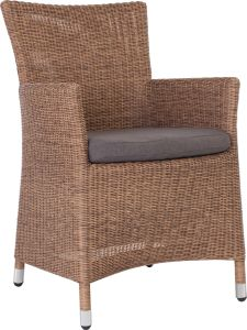 Armchair Sortino wicker cinnamon with cushion Dessin fawn brown
