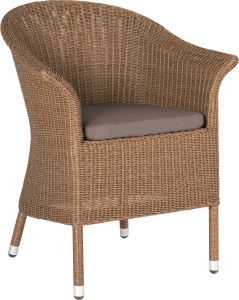 Armchair Glen wicker cinnamon with cushion Dessin fawn brown