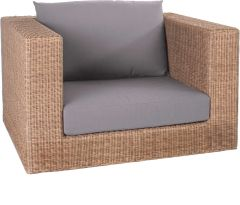 Corpus armchair Fontana wicker cinnamon with cushion Dessin fawn brown
