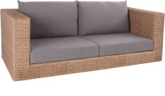 Corpus sofa 2-seater Fontana wicker cinnamon with cushion Dessin fawn brown