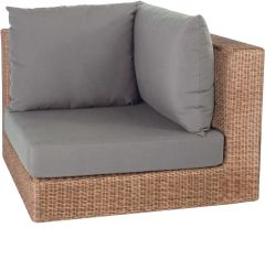Corpus corner element Fontana wicker cinnamon with cushion Dessin fawn brown