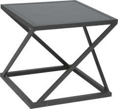 Side table Jackie aluminum anthracite with glass top grey