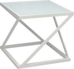 Side table Jackie aluminum white with glass top white
