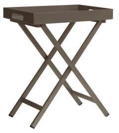 Tray table aluminum taupe with tray 60x40x7 cm