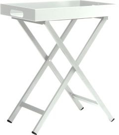 Tray table aluminum white with tray 60x40x7 cm
