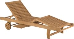 Sunlounger with wheels Malaga teak FSC®-certified