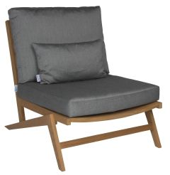 Lounge armchair Jackie teak naturalal with cushion Dessin silk grey