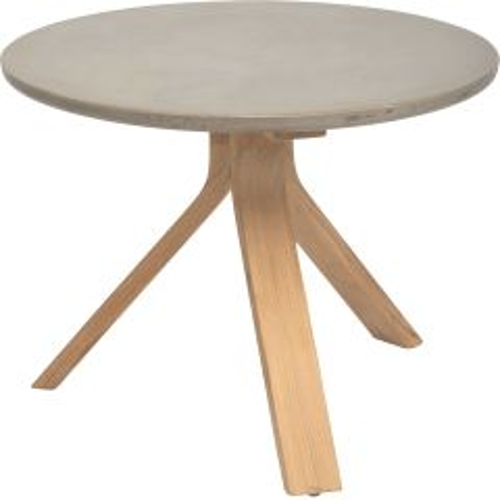 Side table Freddie Ø 55 cm teak with table top concrete