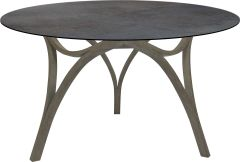 Table Curve Ø 134 cm teak Patina grey with table top Silverstar 2.0 decor Nitro