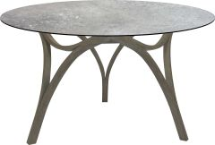 Table Curve Ø 134 cm teak Patina grey with table top Silverstar 2.0 decor Vintage stone