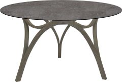 Table Curve Ø 134 cm teak Patina grey with table top Silverstar 2.0 decor Metallic grey