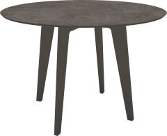 Table Ø 110 cm aluminium anthracite with table top Silverstar 2.0 decor metallic grey